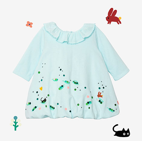 Robe fille broderie chat